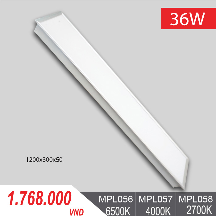 Đèn LED Panel Tấm 36W/1200x300x50 - MPL056/MPL057/MPL058