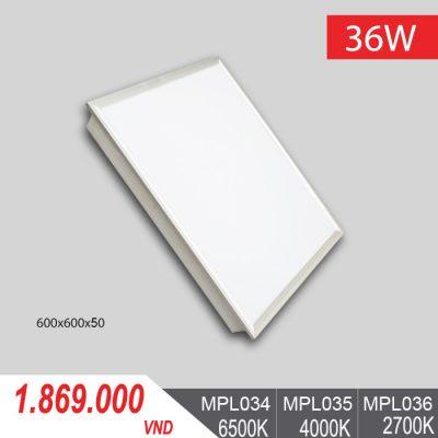 Đèn LED Panel Tấm 36W/600x600x50 - MPL034/MPL035/MPL036