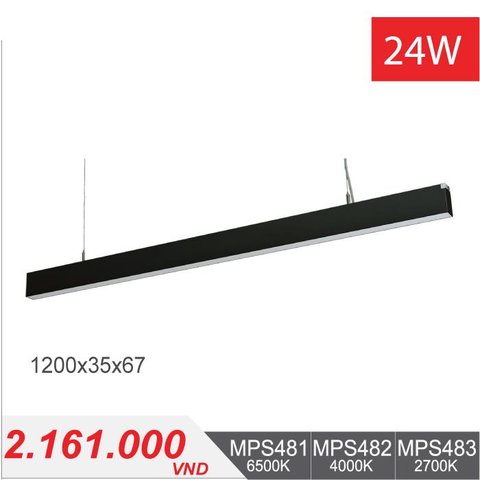 Đèn LED Thanh Treo 24W (1200x35x67) - MPS481/MPS482/MPS483