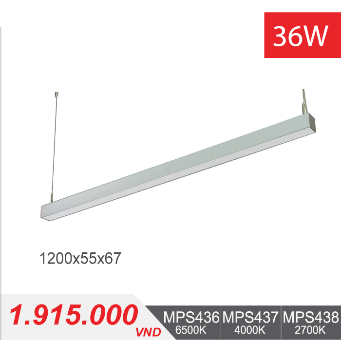 Đèn LED Thanh Treo 36W (1200x55x67) - MPS436/MPS437/MPS438