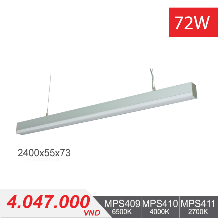 Đèn LED Thanh Treo 72W (2400x55x75) - MPS409/MPS410/MPS411