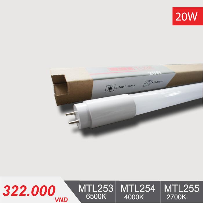 Đèn Tuýp LED T8 20W/1m2 - MTL253/MTL254/MTL255 - 322,000VNĐ