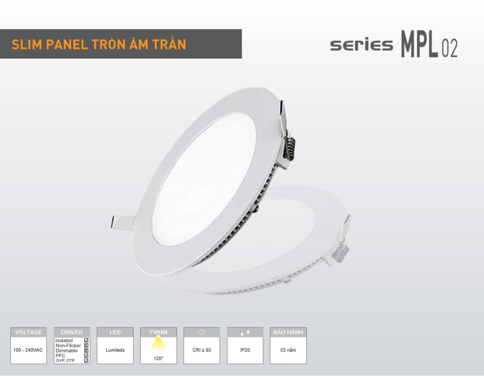 đèn LED âm trần 18W siêu mỏng